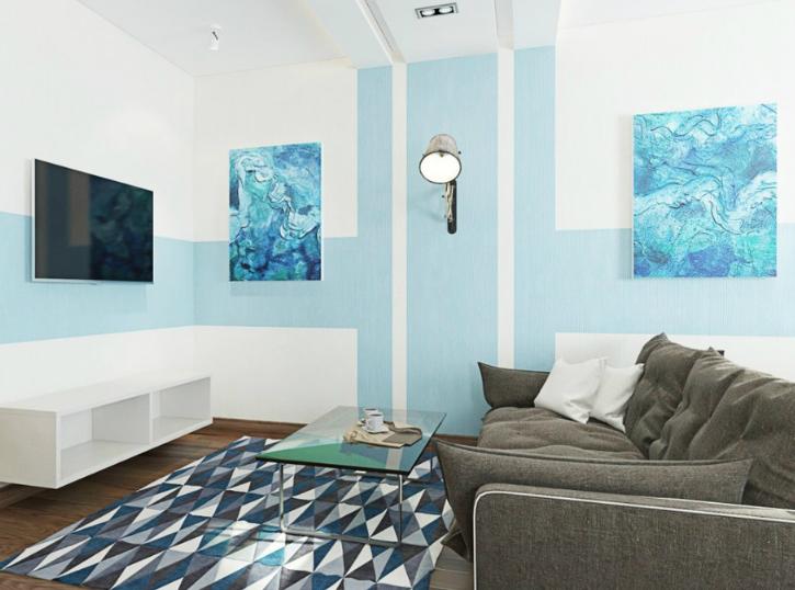 Окраска стен гостиной двумя цветами