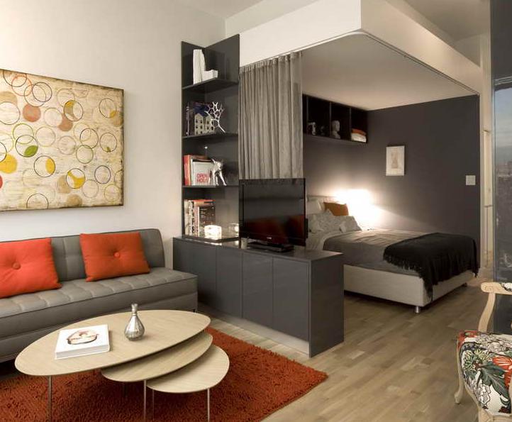 Гостиная + спальня в малогабаритной квартире