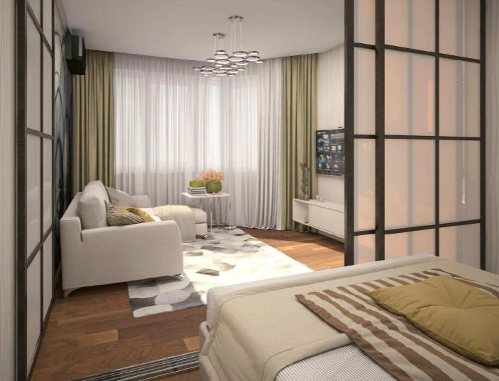 Гостиная спальня в небольшой квартире